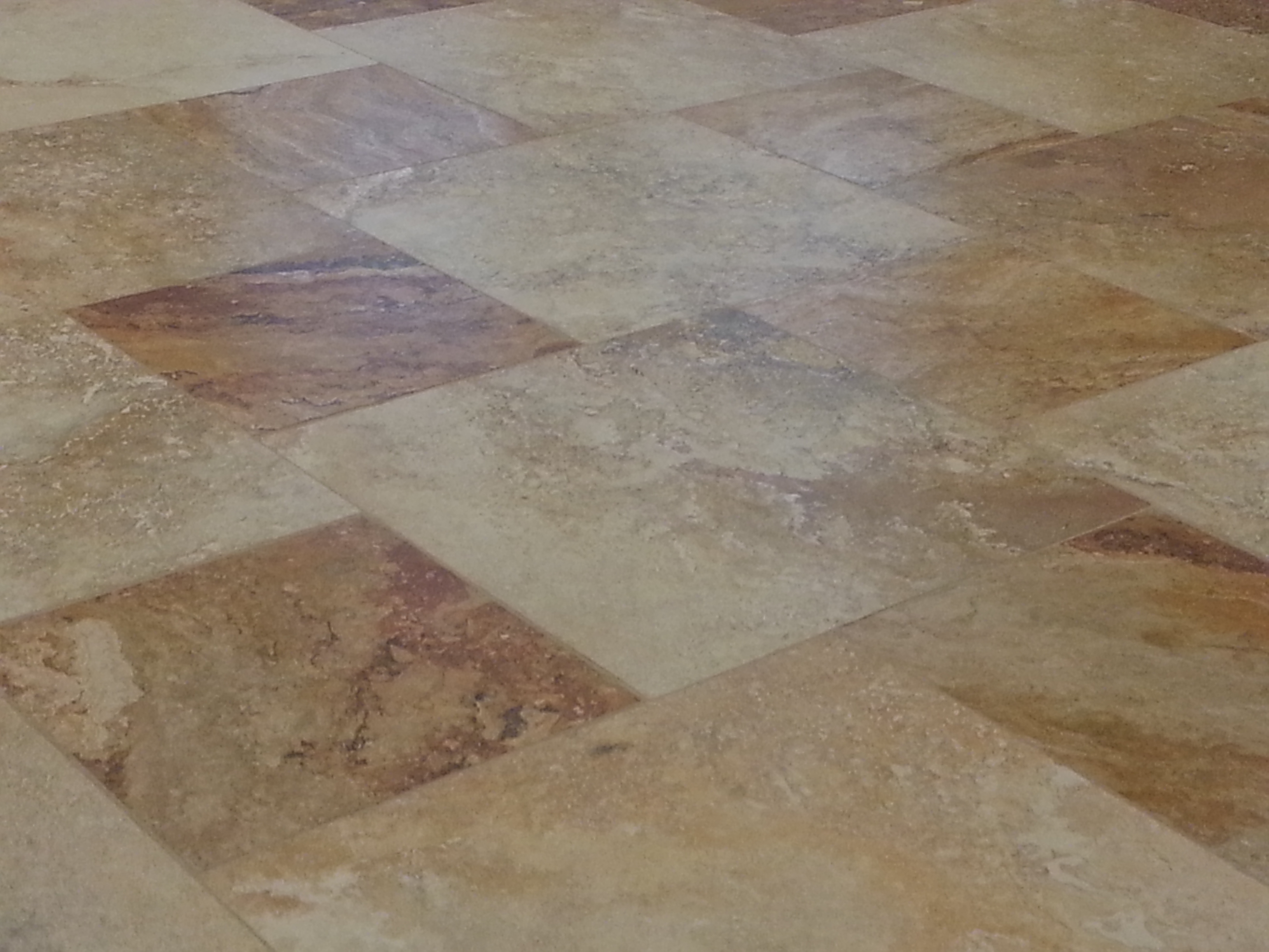 Cleaned Travertine Tile Floor