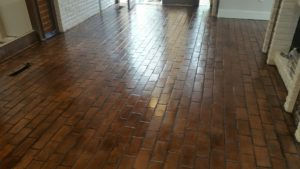 brick floor cleaned and restored