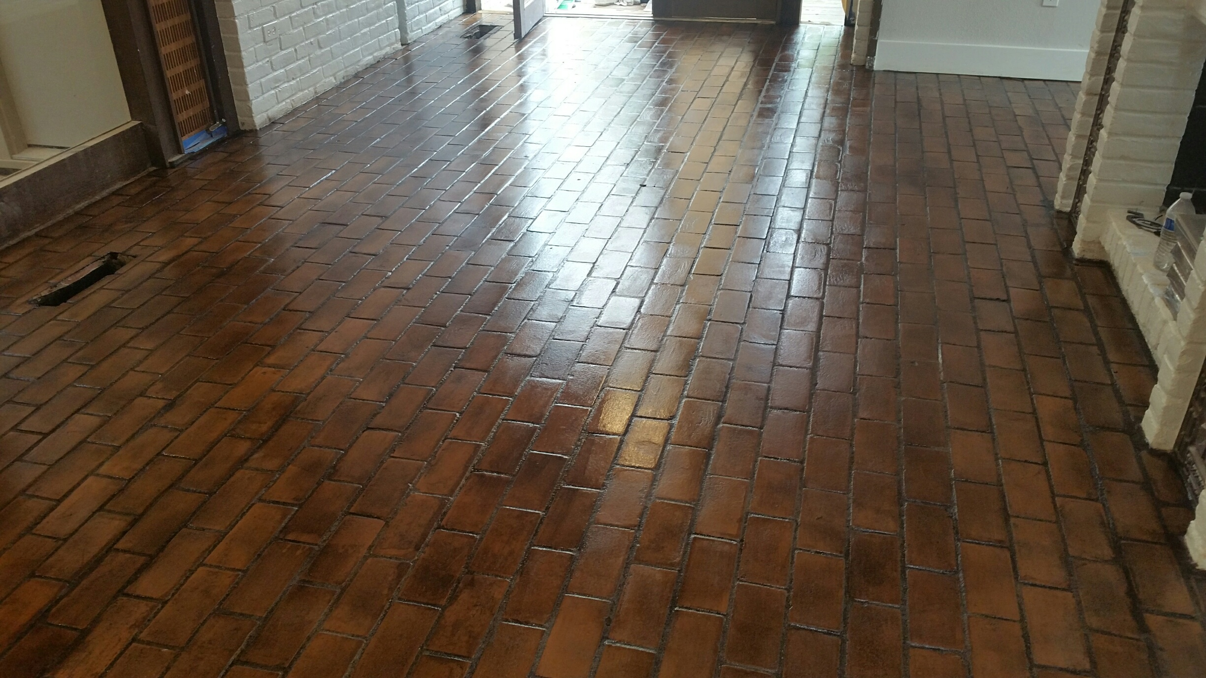 Brick Floor After Cleaning and Restoration