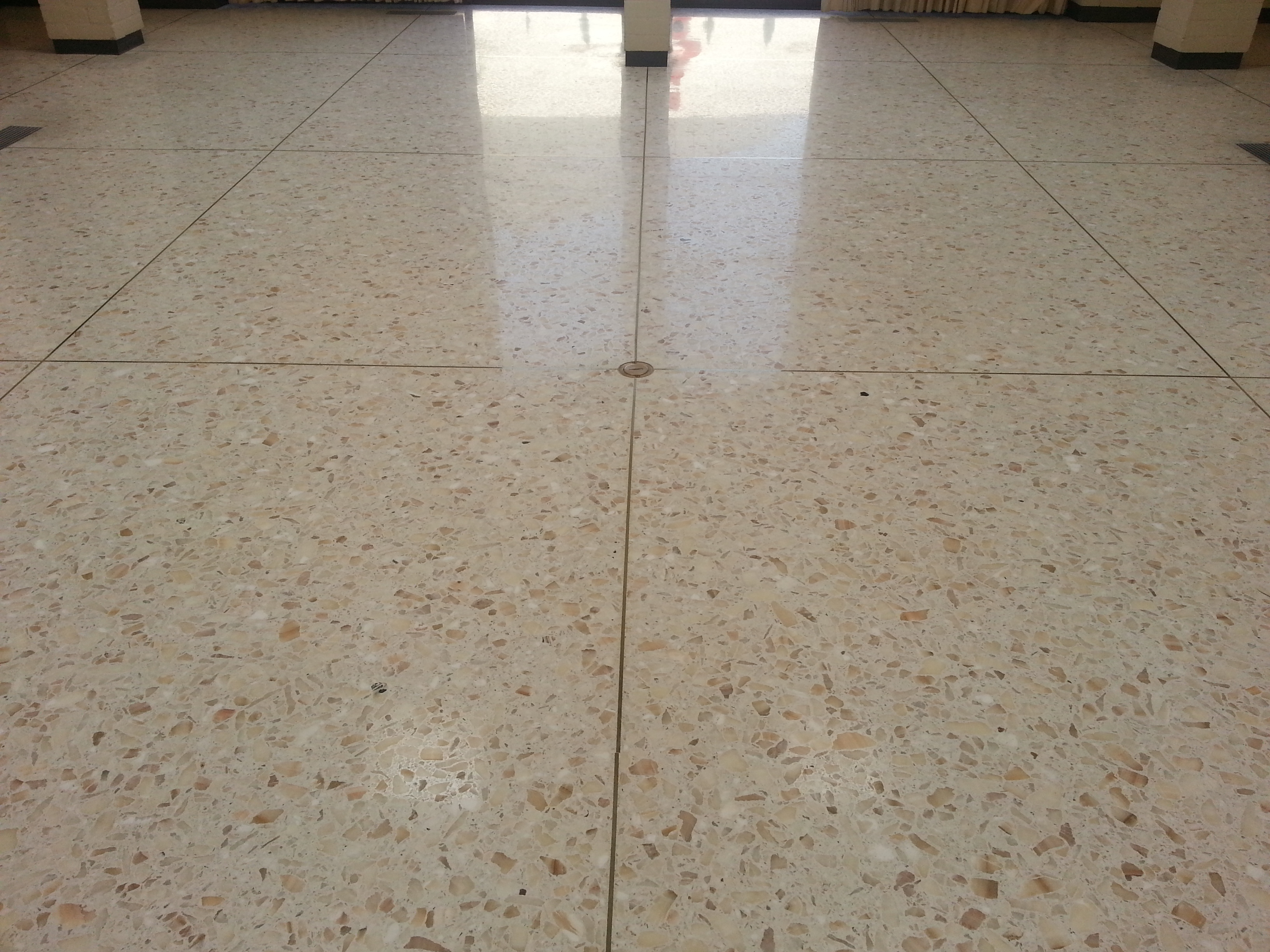 Terrazzo tile floor cleaned, honed and sealed