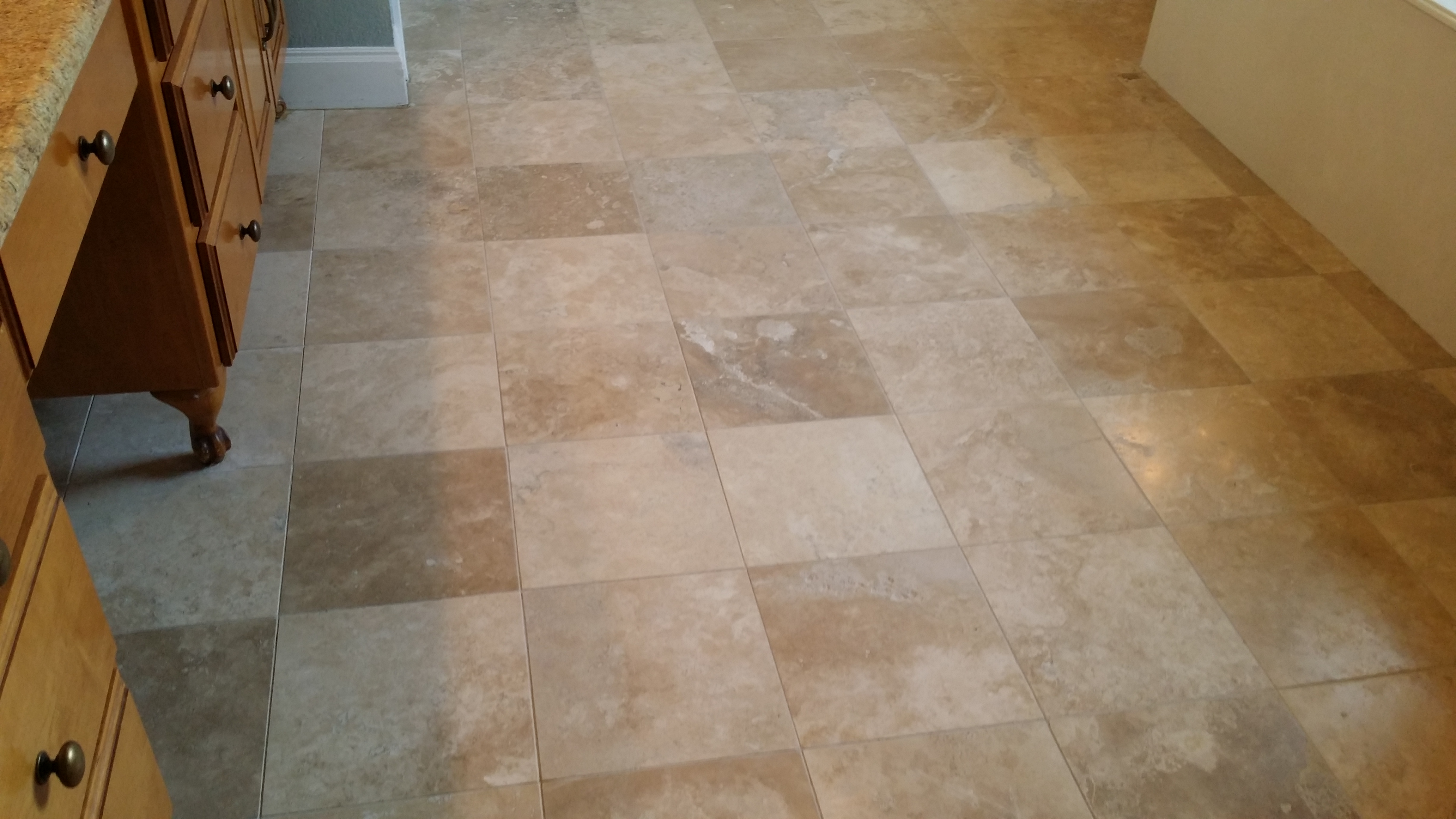 Travertine floor cleaned, resurfaced and sealed