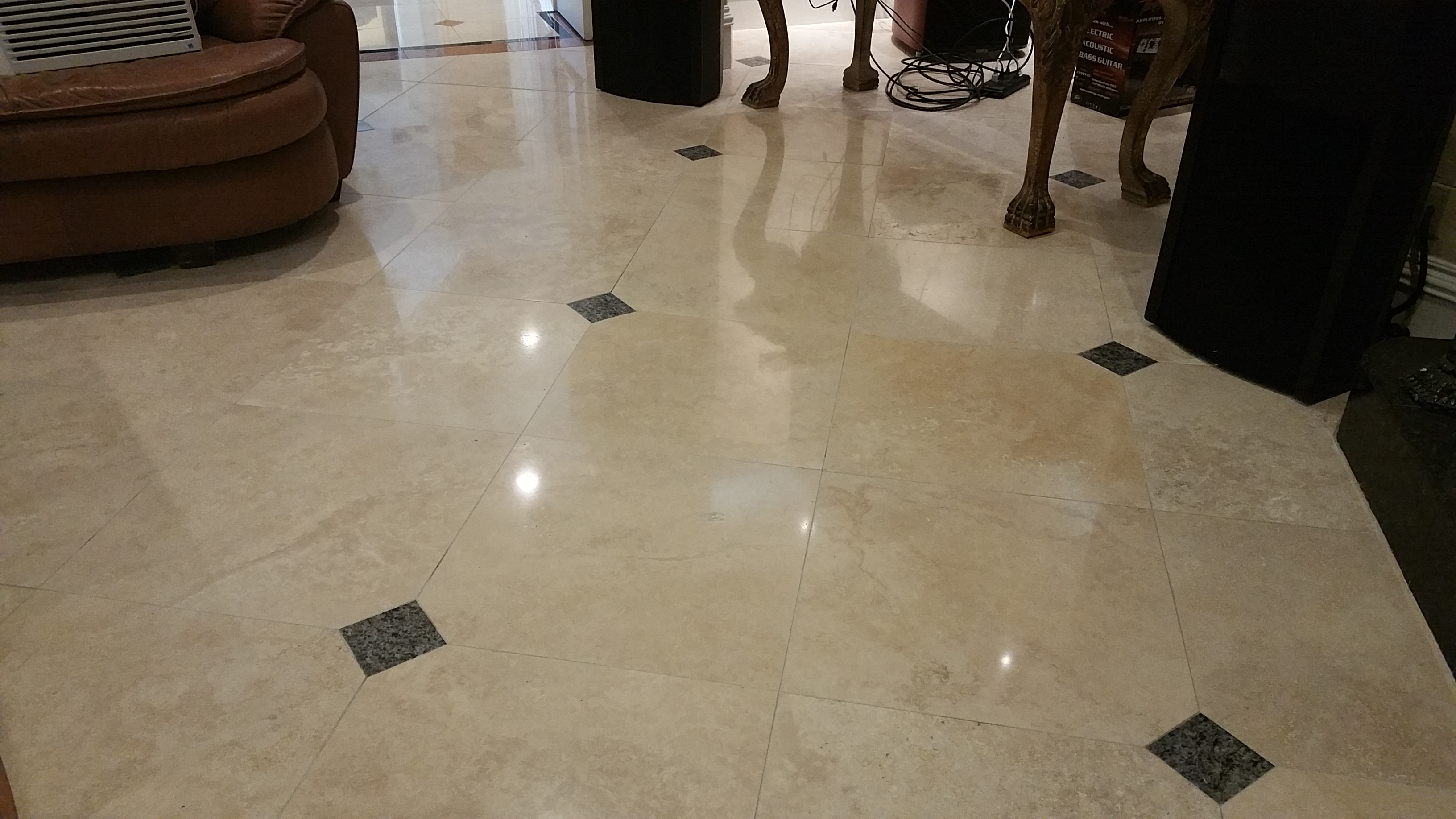 Cleaned Marble Floor with inlay
